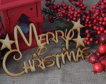 Merry Christmas Disney Font Personalised Christmas hanging wood MDF Sign