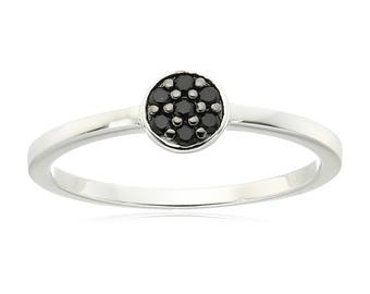 Sterling Silver Black Spinel Petite Ring, Size 7