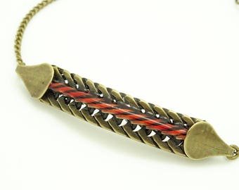 Red enamel chain bracelet