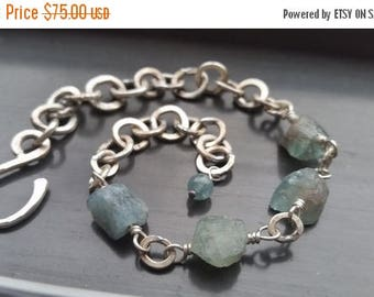 ON SALE Rustic Rough Blue Apatite & Heavy Sterling Silver Chain Bracelet, Gift for Her, Natural, Adjustable, Strong Jewelry FREE Usa Shippin