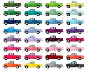 50% OFF Pickup Truck Clipart, Tow Truck Clip Art, Automobile, Printable Planner Sticker Graphics, Scrapbooking, PNG, Commercial