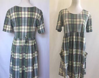 vinatge 90's PLAID FLANNEL BABYDOLL dress - grunge, small, medium