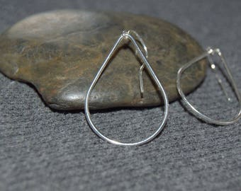 silver teardrop earrings, sterling silver minimal earrings, simple everyday wire earrings, silver dangle earrings, wire dangles