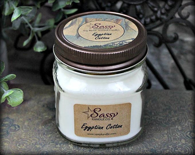EGYPTIAN COTTON | Glass Mason Jar Candle | Sassy Kandle Co.