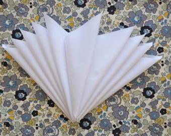 10 Liberty Tana Lawn - quilt scraps- 5''x5'' - WHITE - Liberty plain Tana Lawn