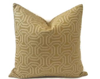 Lime Green and Tan Woven Geometric Fretwork Pillow Cover
