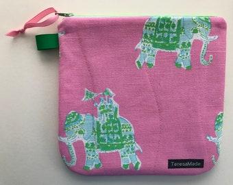 Medium Pink Elephant Zip Pouch (Lily Pulitzer Fabric)