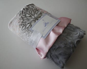 Premier Prints Blooms Mockingbird Cuddle Silver and Dark Gray, Blush, Baby Pink and White Minky Blanket, Crib Bedding, Nursery, Baby Shower
