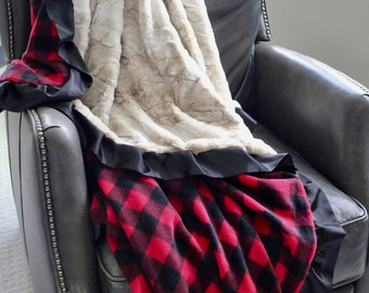 Adult Minky Travel Blanket - Red and Black Buffalo Check with Creme Faux Rabbit Fur Minky Backing and Satin Trim - Lodge, Hunting, Men