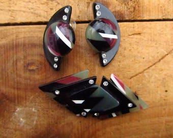 Vintage 1980's Earrings and Brooch Set - Lucite Rhinestone Geometric Earrings Brooch