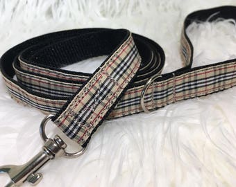 DOG LEASH / Traffic Lead / Pet leash  / Burberry / ribbon and webbing leash / designer
