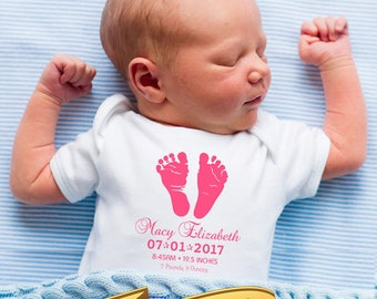 newborn baby girl announcement onesie with custom footprints, name, date, time, weight & length      baby shower gift for new baby girl