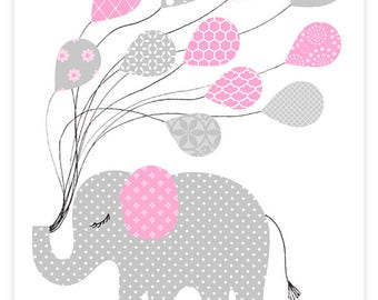 Nursery Wall Art, Elephant Nursery Decor, Elephant Wall Art, Baby Girl Nursery Decor, Baby Shower Gift, Elephant Art Print, Girls Room Decor