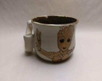 """WAKE and BAKE Pipe MUG - Guardians 2 Inspired """"Baby Groot"""" - Handmade Ceramic #826"""