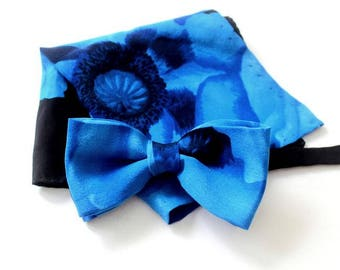 bow tie,mens bow,bow,handkerchief,A beautiful set made of a blue, high-quality silk with a poppy motive
