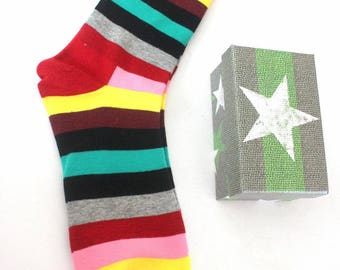 Socks, colorful socks, trendy socks, striped socks