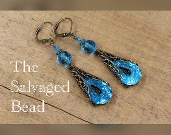 Vintage Czech Glass Aqua Assemblage Earrings, circa 1950's by The Salvaged Bead