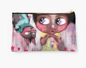 Zipper Pouch - Studio Pouch - Whimsical Art Purse - Make up bag - Pencil Case - HyssopArts - Artwork Designed by Beatrice Ajayi