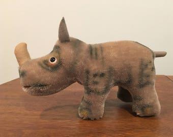 "Vintage 1950s  Steiff  Mohair Rhino  7"" Nosy"