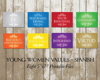 """Young Women Values in Spanish, YW Values, Eight (8) Printable 5""""x7"""" Digital Files"""