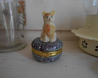 Cute kitten cat trinket box enamel paint china decorative shabby chic shelf sitter storage figurine ornament gift for her french decor
