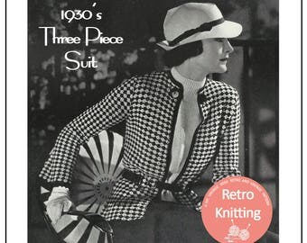 1930's Three Piece Suit Knitting Pattern - Instant Download - PDF