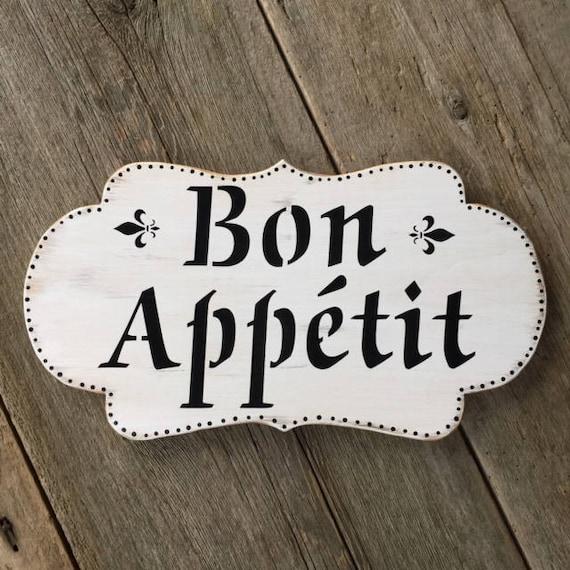 Bon Appetit Sign Kitchen Decor Kitchen Sign Wall Decor