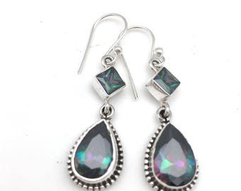 Sterling Silver Mystic Topaz Dangle Earrings