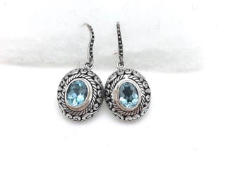 Sterling Silver and Blue Topaz Bali Earrings