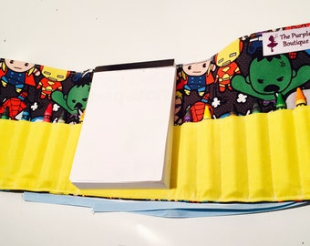 Super Hero Crayon roll with doodle pad