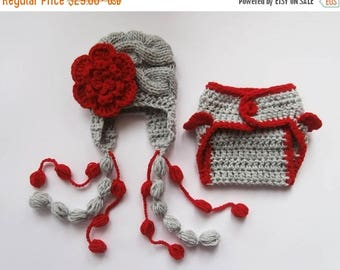 ON SALE 35% SALE Newborn Baby Girl Knit  Hat and Diaper Cover Set -Newborn Baby Hospital Outfit - Photography Photo Prop Set - Newborn Baby