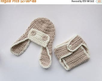 ON SALE 35% SALE Crochet Newborn Outfit - Baby Boy Aviator Hat and Diaper Cover Crochet Outfit  -Newborn Baby Boy