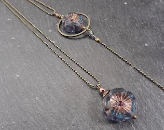Jewel back/brass, glass flower wedding necklace