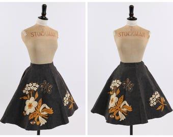 Vintage original 1950s 50s novelty felt skirt beed flowers and rhinestones UK 4 6 US 0 2 XXS xs