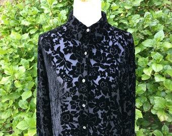 Black Silk Floral Blouse // Sheer // Large // XL // Baggy // Oversized // Loose // Velvet // Peter Pan collar // Shirt // Top