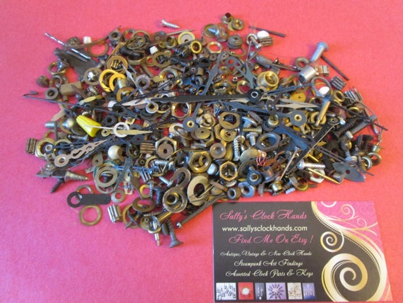 Steampunker's Dream Lot 3 - Assorted Antique & Vintage Clock Parts + Hardware for your Clock Projects, Jewelry Making, Altered Art, Crafts