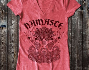 Namaste and Henna graphic Women's Fitted V-Neck T-Shirt