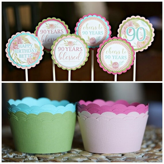 90TH BIRTHDAY DECORATIONS Cupcake Toppers Floral birthday 80th