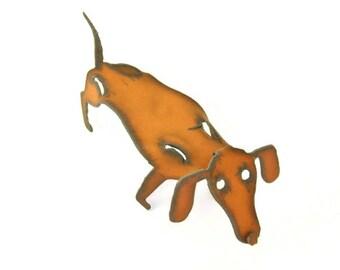 Dachshund Origami Folded Rusted Metal Figurine