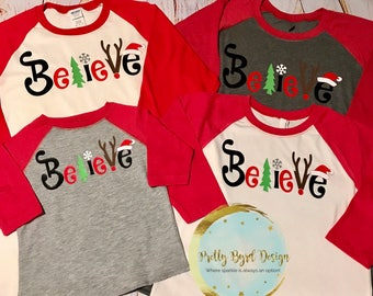Believe Raglan;Adult and Youth;Cute Vinyl Christmas T Shirt;Believe Christmas Shirt;Kids;Shirts for Women;girls;Reindeer;popular christmas