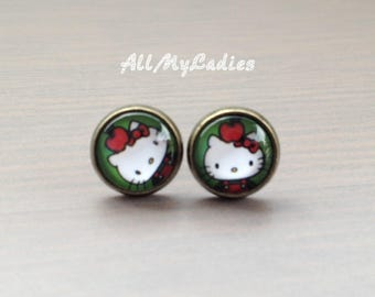 Earrings cabochon glass cat with Red Apple