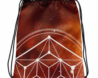 Drawstring bag - Sacred Geometry Orange 1 Drawstring Bag