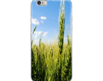 iPhone 5/5s/Se, 6/6s, 6/6s Plus Case - Red Silo Original Art - Green Wheat