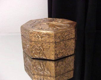vintage octagonal wooden box, covered with red brass