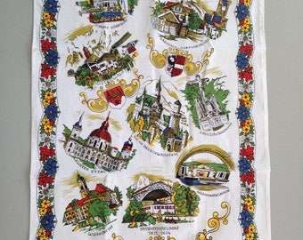 Vintage Bavaria Germany tea towel 100 percent cotton never used