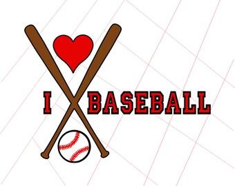 I Love Baseball Vinyl Decal - SVG Digital Download