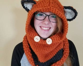 Knit Fox Hat Cowl - can be made in sizes 12 mos through Adult!