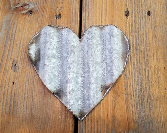 Small Corrugated Metal Heart Set of 3 or Set of 6