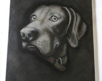 Weimaraner oil and ink painting on canvas
