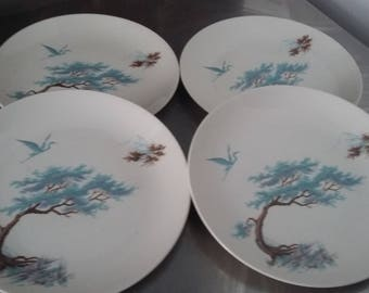 4 J and G Meakin 'Sol' Dinner Plates Vintage Retro